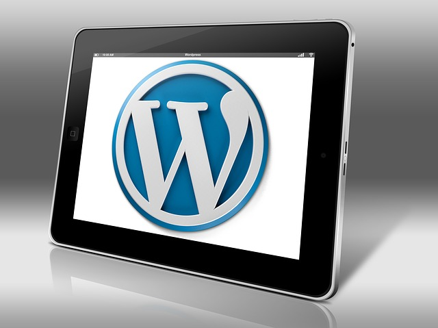 Wordpress logo on tablet screen